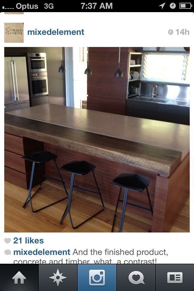 Concrete and timber bench top idea