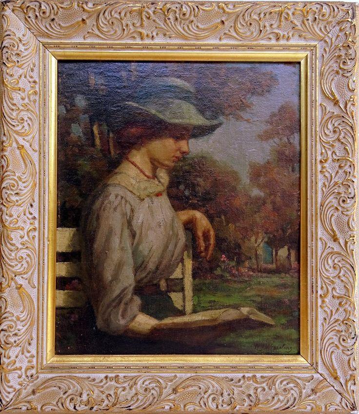 Dame Lisant Sur Un Banc, Hendrik Jan Wesseling (1881-1950) Post Impressionniste…