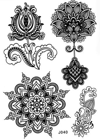 Black Henna Mandala Lotus Temporary Tattoo