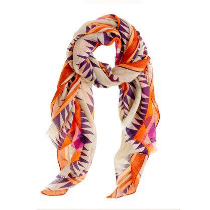 printed scarf: J Crew Prints, Prints Scarfjcrewcolorlov, Cute Scarfs, Orange Scarfs, Prints Scarfs, Jcrew Scarfs, Fall Fashion, Accessories, Jcrew Prints