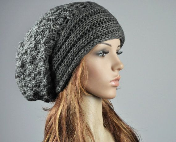 Hand knit hat - the slouchy  Hat with band in charcoal
