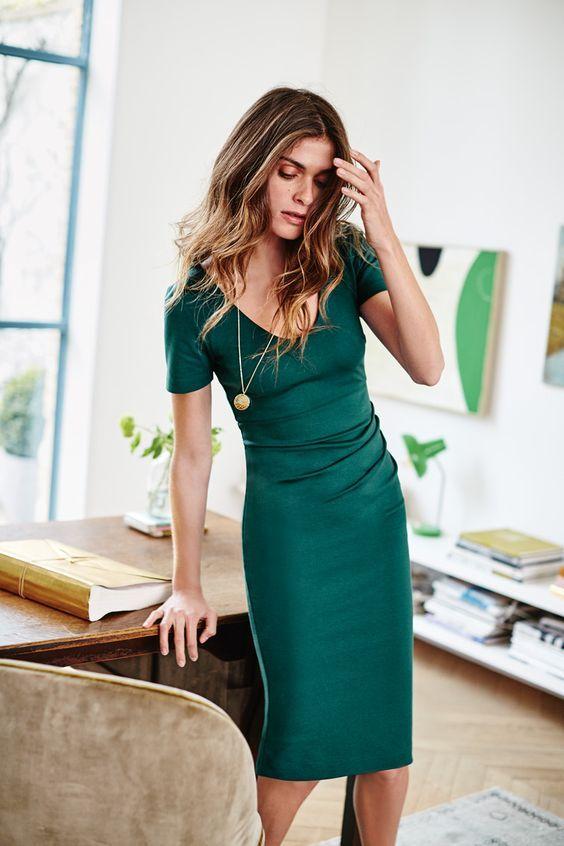 A beautiful green teacher dress design inspire - LadyStyle