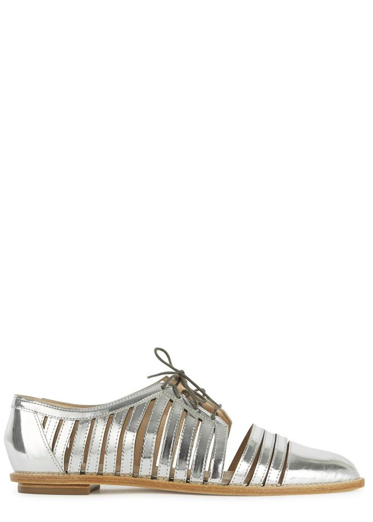 UK exclusive to Harvey Nichols  Loeffler Randall silver leather shoes Heel…