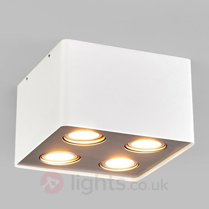 Giliano LED kitchen ceiling light in white, 4-fl.