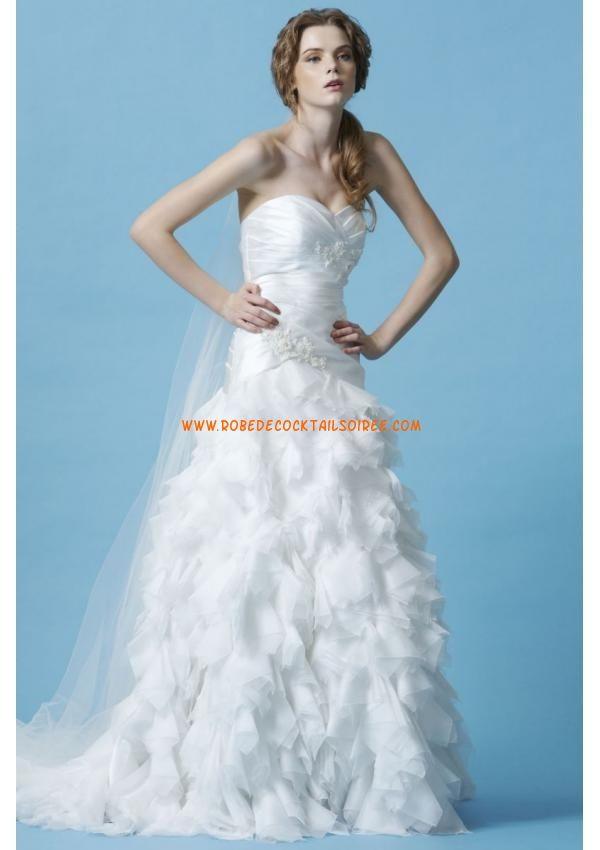 Belle robe avec traîne 2013 blanche drapé appliques robe de mariée organza