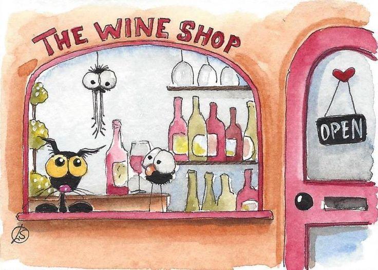 ACEO Original watercolor art painting whimsical black cat store front wine shop #IllustrationArt