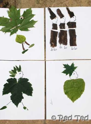 Make people from leaves and sticks!