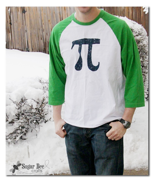 Sugar Bee Crafts: Stenciled Pi Shirt    (she uses contact paper, but could also easily be done with freezer paper stenciling)