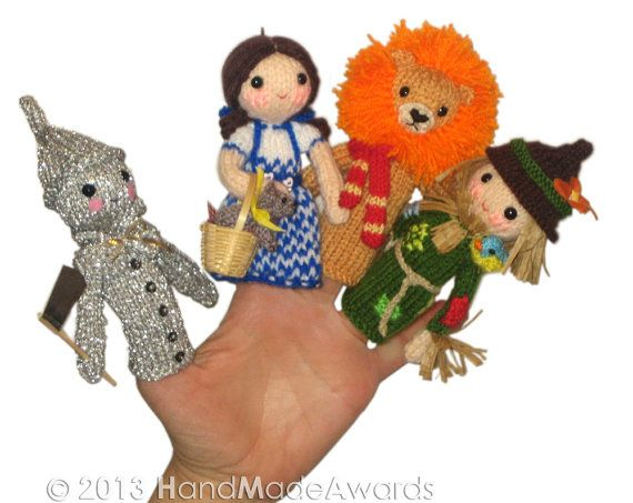 The Wizard of Oz Finger PUPPETS PDF Emal Knit от HandMadeAwards