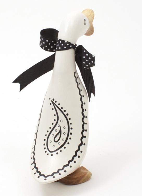 Black and White Wooden Duckling - Teardrop by DCUK. Lovely gift for Mother's Day available from www.artworx.co.uk