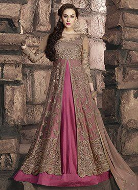 Pink Art Silk Net Abaya Style Anarkali Suit