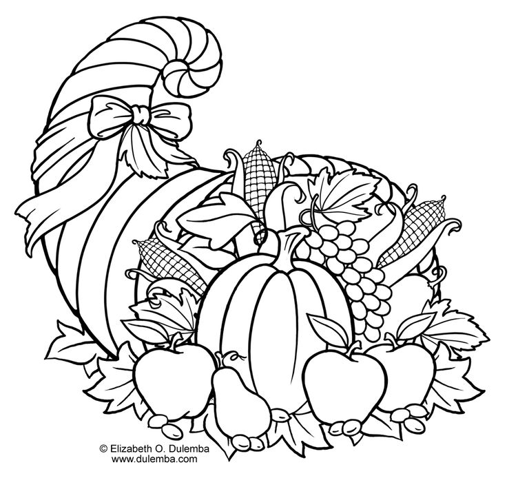 Cornucopia coloring page....using this with my lesson on Thanksgiving dinner