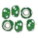 #7427 Bead, Dione™, lampworked glass with silver-finished brass grommet, semi-transparent green and opaque white, 14x9mm rondelle with bumpy dots and 4.5-5mm hole. Sold per bead.