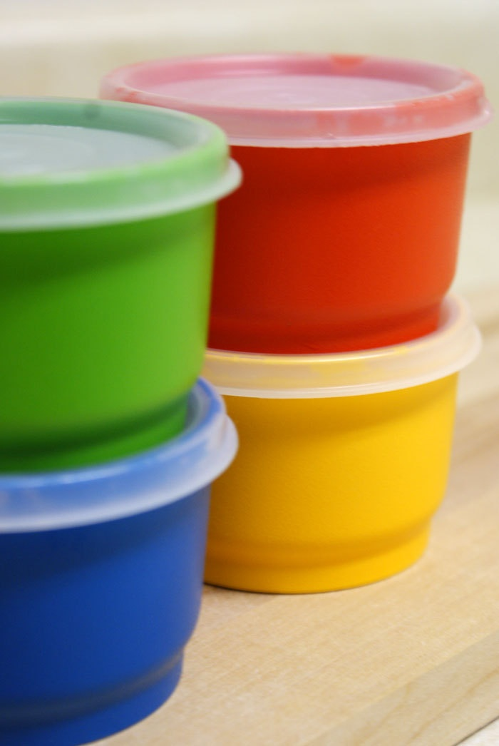 Rainbow Mini Tupperware Cup Lunchbox Containers. $9.95, via Etsy.