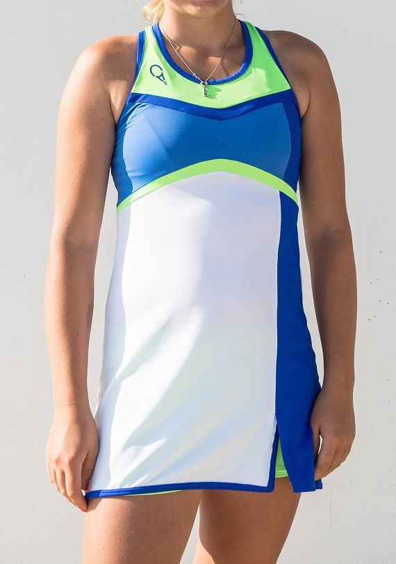 women's tennis dress with matching panties, vivid, dynamic and sporty, Halter, unpacking on the front
