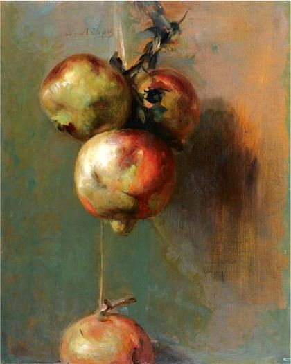 Nikiforos Lytras, Greek (1832-1904), Pomegranates, oil on panel 41.5 x 32.5cm., 16¼ x 12¾in.