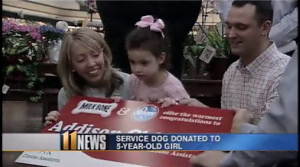 Five-year-old Addison Childers was born with cerebral palsy.  On Wednesday, Kroger and Milk-Bone made a service dog donation to her family through Canine Assistants.  Her parents say the dog will allow her to have more independence.: Animal Heroes, Canin Assistant, Girls, Addison Childer, Cerebral Palsy, Five Years Old Addison, Service Dogs, Dogs Life, Dogs Donation
