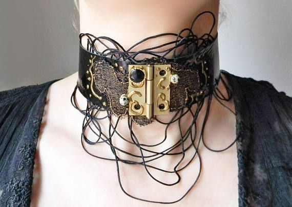 Steampunk Gothic black neck choker collar with lace and cords