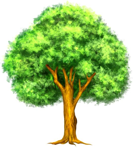 Green Painted Tree Clipart