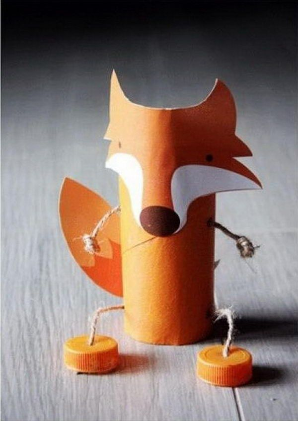 Handmade Fox for Kids - 60 Homemade Animal Themed Toilet Paper Roll Crafts, http://hative.com/homemade-animal-toilet-paper-roll-crafts/,