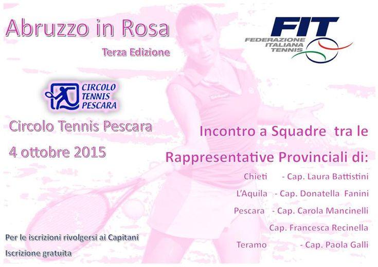 C.T. Pescara, Abruzzo in rosa domenica 4 ottobre. Terza edizione della manifestazione riservata alle tenniste abruzzesi