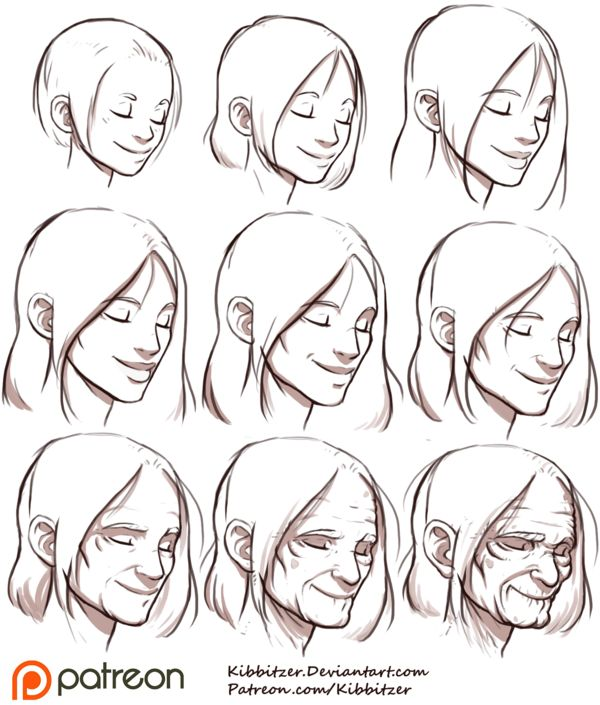 Aging Reference sheet 2 by Kibbitzer Character Desing | Sketch | Female | Diseño de Personajes | Bosquejo | Femenino
