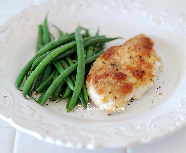 Parmesan Crusted Chicken: Mix Mayo, sour cream or yogurt (1/2 c) and Parmesan cheese (1/4 c). Spread over chicken breast in a baking dish, sprinkle with Italian bread crumbs and bake for 20-30 minutes-EASY!