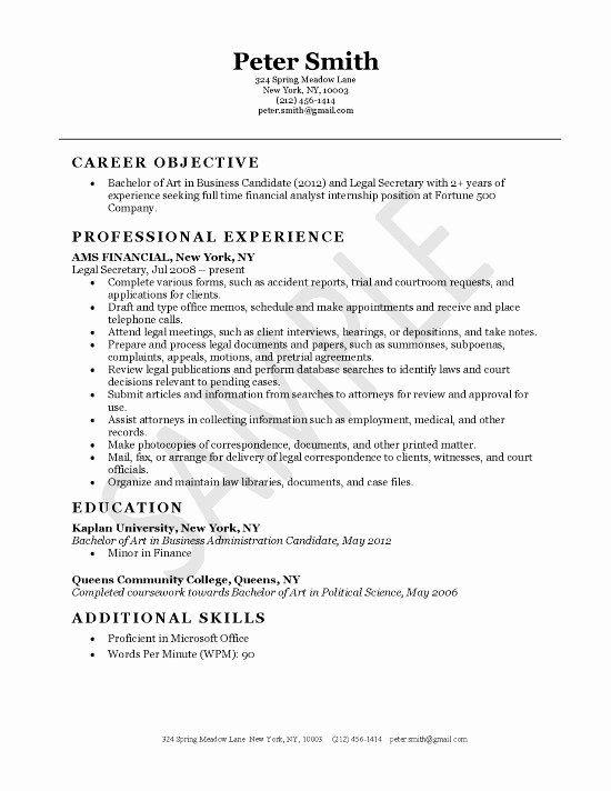 Legal Assistant Job Description Resume New Legal Secretary Resume Example Job Resume Examples Resume Examples Job Resume