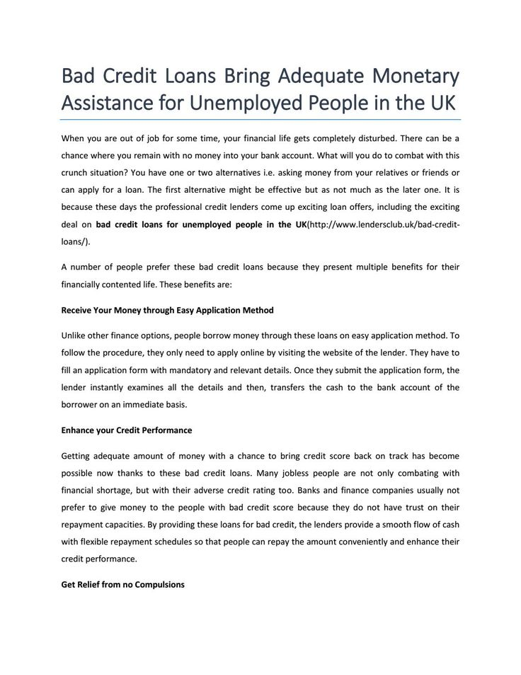 Bad credit loans for unemployed people in the uk