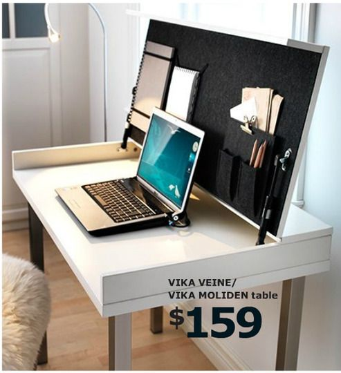 Furniture that does double-duty is a great way to make a small space work. I could see the VIKA VEINE/VIKA MOLIDEN table going from dinner for two to a functional workspace in no time at all. VIKA VEINE/ VIKA MOLIDEN Table, white, nickel plated $159.00 Article Number: 998.759.12 Cable outlets and compartment in the back keeps cords and cables out of sight but close at hand.