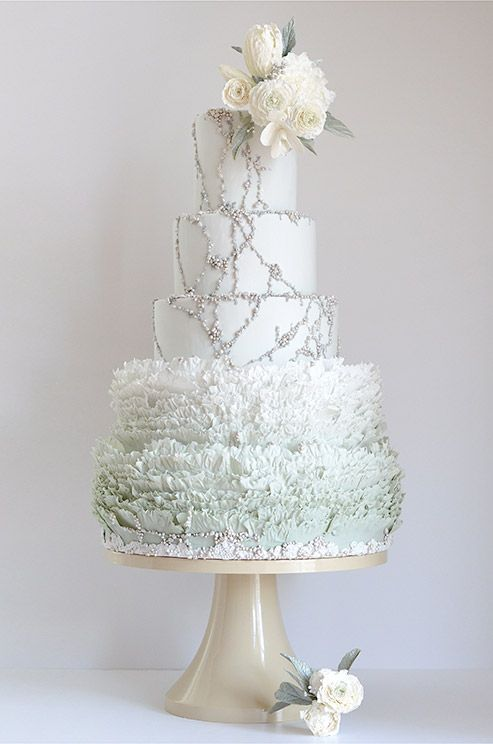 How stunning is this mint-colored ruffled wedding cake embellished with sugar freshwater pearls from Maggie Austin? Checkout this interview and get more fabulous cake inspirations!