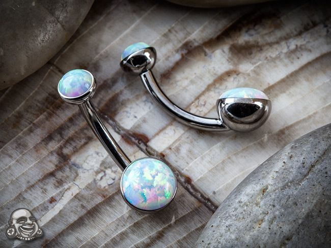 "Titanium & opal curved barbell. 14g, 3/8"". Available at bodyartforms.com"