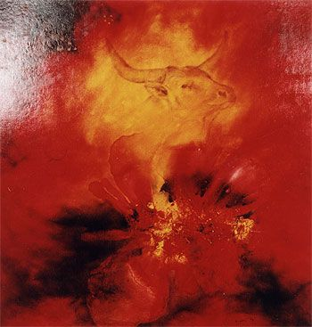 """oil paintings  by Lenka Zemanová                 """"Býk"""" cyklus Zvěrokruh  95x90cm"""