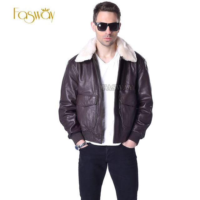 Factory Pilot Aviator Flight Jacket For Men Genuine Leather Men's Winter Coats Sheepskin Fur Collar Brown Motorcycle Parka ZH176 US $179.99  CLICK LINK TO BUY THE PRODUCT  http://goo.gl/oYWEYs