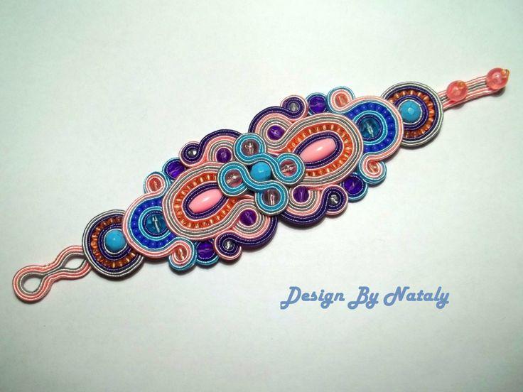 OOAK Soutache Jewelry Bracelet Magnolia Pink Lilac Grey Blue