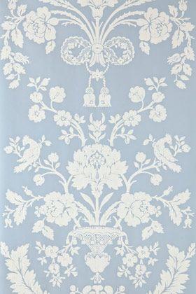Farrow & Ball St Antoine wallpaper in powder blue- love the Wedgewood Jasperware look