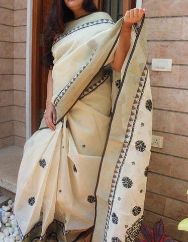Lucknow chikan work kota cotton saree