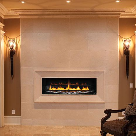 #fireplace Do you want to remodel your fireplace? Make it modern! Photo: 1116 fireplace stone mantel - OmegaMantels.com
