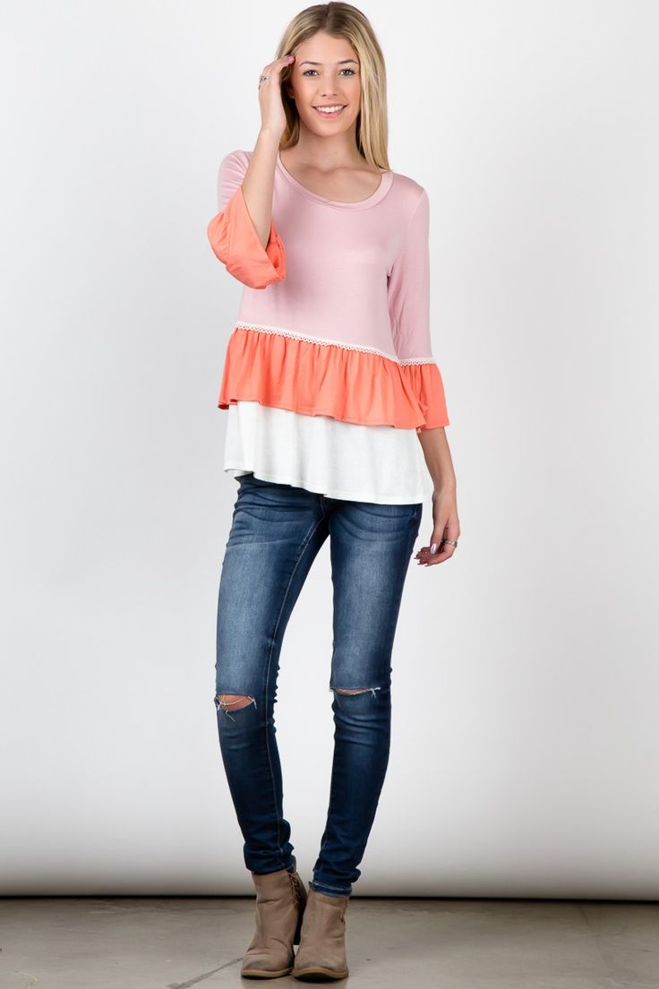 Mauve Coral Color Block Round Neck Bell Sleeve Ruffle Top!  #fashion #USA #streetwear #streetstyle #streetfashion #trend #outfit #fashionweek #fashionshow #beauty #Sleeveless