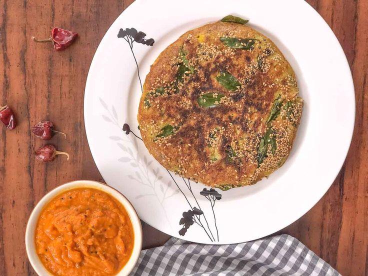 Breakfast Meal Plate: Gujarati Tawa Handvo & Tomato Garlic Chutney