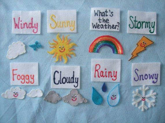 I'm loving felt board stuff and this Etsy seller has awesome stuff! Lola is getting into the weather, too, so this set is perfect!