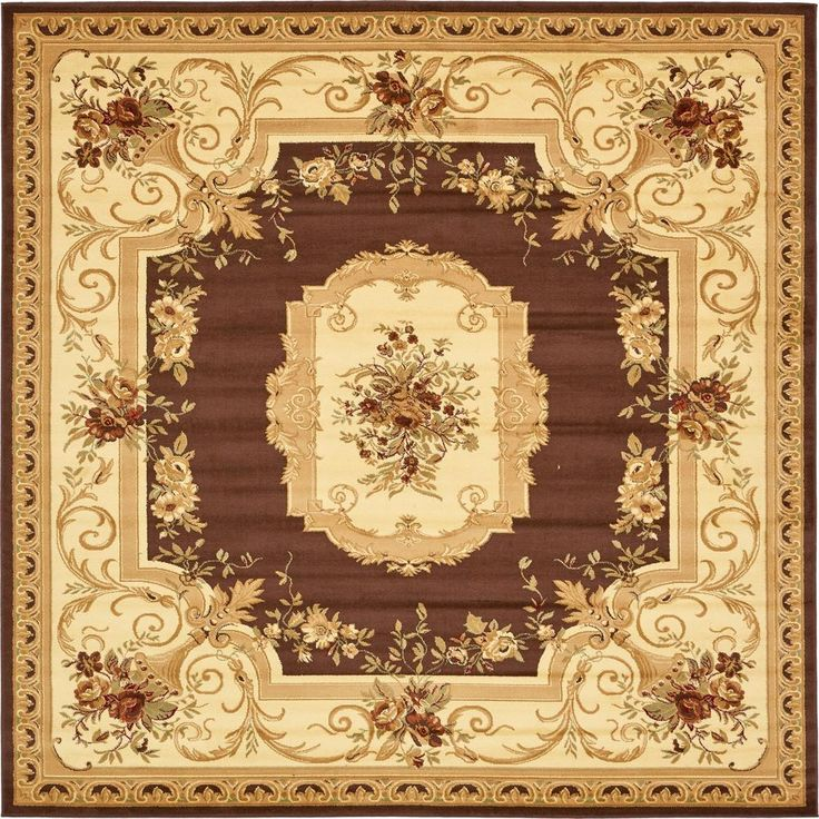 Traditional Versailles Brown 10 ft. x 10 ft. Square Rug
