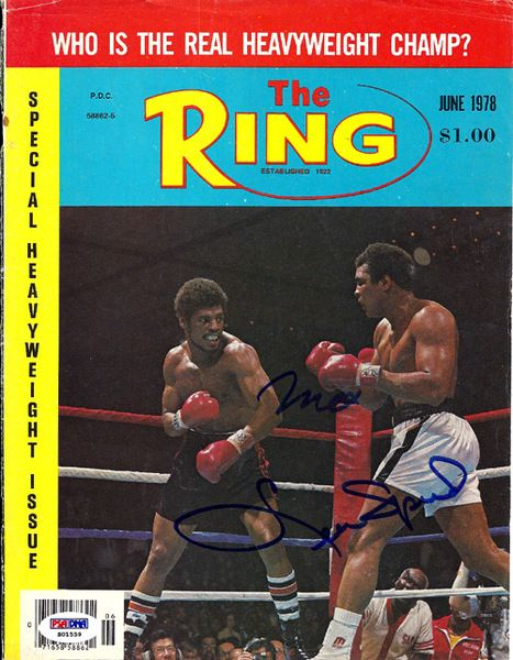 Muhammad Ali & Leon Spinks Autographed The Ring Magazine Cover PSA/DNA #S01559