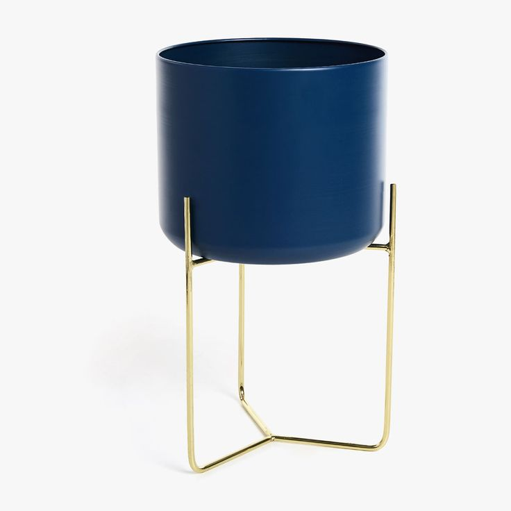 £ BLUE PLANTER WITH GOLD BASE