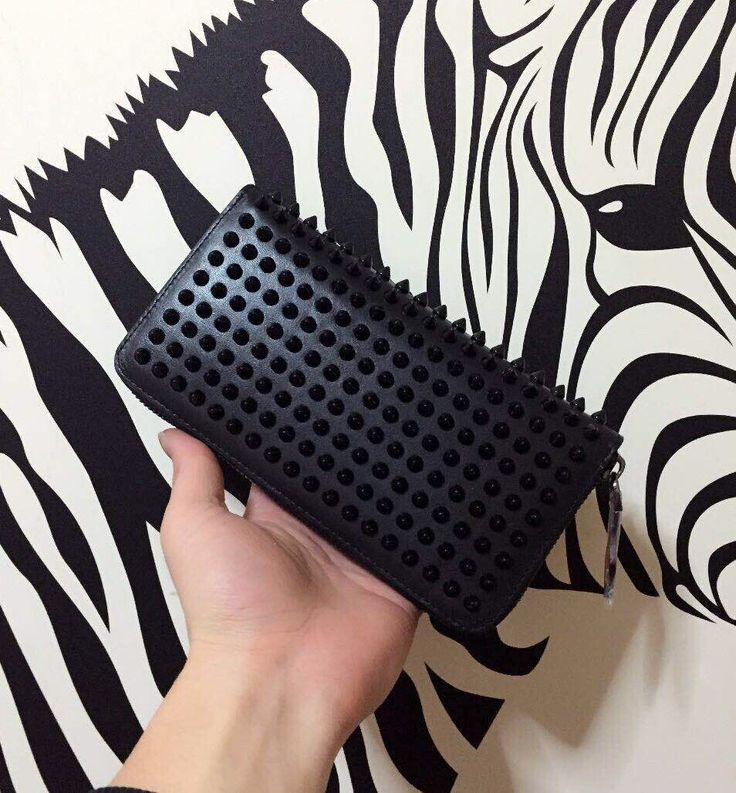 All black Louboutin Wallet / Clutch with Spikes Men's Fashion customize , handmade pre-order Email:wangxia11073@hotmail.com