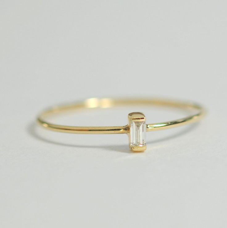 Diamond Baguette Engagement Ring .06 Carat Diamond by bellaflor, $198.00