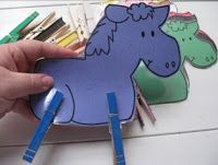 Hand strengthening exercise - clothespin horses. Free printable horses!