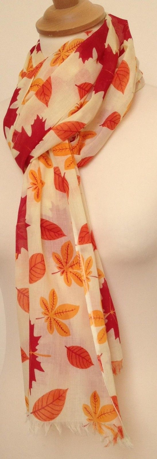 A beautiful autumnal golden leaf print scarf. Scarf fabric - 100% cotton. Repeat design of golden autumn leaves. Scarf print - leaves. Care instructions - cool hand wash. | eBay!