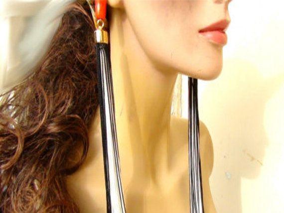 Long Tassel  Earrings  Long tassel Silky di Frammentidivetro