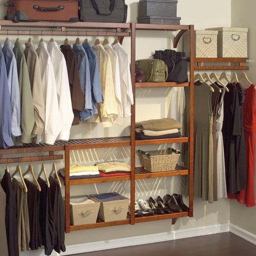 John Louis Home JLH-522 Standard 12-Inch Depth Closet Shelving System, Honey Maple  Solid wood closet shelving system with 12-inch depth and red mahogany finish-fits up to a 10-foot closet  Provides up to 24 feet of shelf space and 18 feet of hanging space  Open-sided tower shelves; wood garment bar; all-metal hardware with decorative satin nickel finish